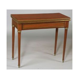 Louis XVI Brass-Mounted Mahogany Game Table