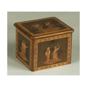 Continental Marquetry Inlaid Tea Caddy