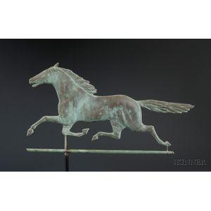 """Molded Copper """"Smuggler"""" Running Horse Weather Vane"""