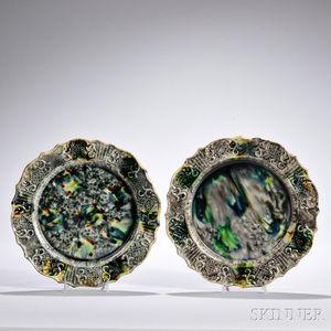 Pair of Tortoiseshell-glazed Earthenware Plates