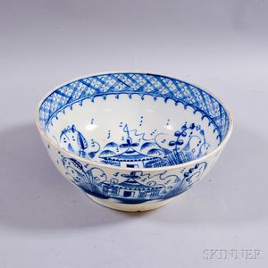 Blue- and White-decorated Pearlware Punch Bowl