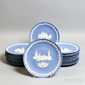 Twenty-one Wedgwood Blue Jasper Christmas Plates