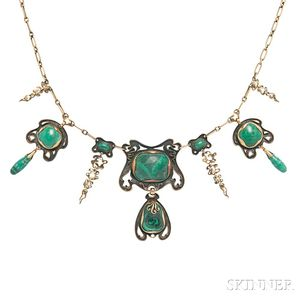 Arts and Crafts Gilt-silver and Malachite Necklace