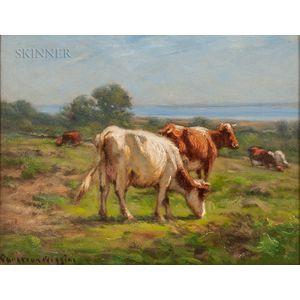 Carleton Wiggins (American, 1848-1932)      Cows by the Sea