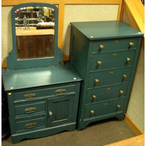 Blue Painted Five-Drawer Tall Chest, Mirror and a Late Victorian Blue Painted Commode.
