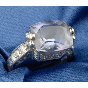 18kt White Gold, Iolite, and Diamond Ring, Judith Ripka