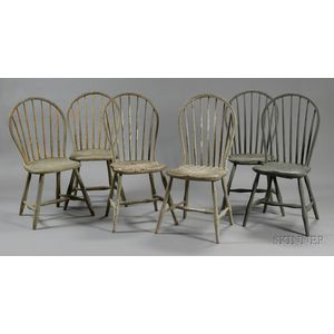 Assembled Set of Six Painted Windsor Bowback Bamboo-turned Side Chairs