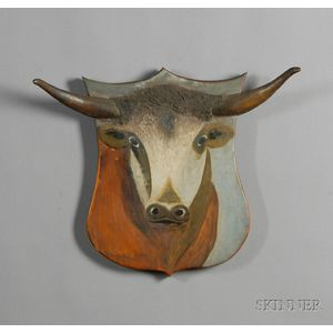 Painted Steer Head Plaque with Applied Horns