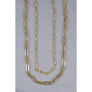 Two 18kt and 14kt Gold Chains