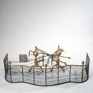 Pair of Brass and Iron Ball-top Andirons, Matching Tools, and a Wirework Fender