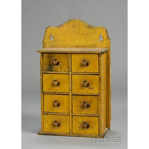 Yellow-Painted Pine Eight-drawer Wall-mounted Spice Box