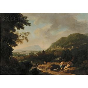 Continental School, 17th Century Style      View of Shepherds in a Classical Landscape