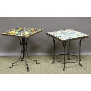 Two Decorated Tile-top Wrought Iron Stands