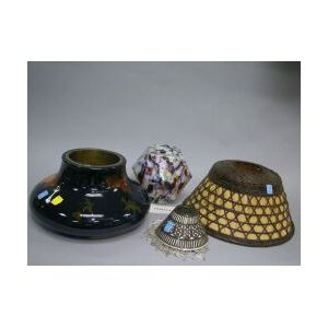 Group of Assorted Lighting, Shades and an Art Pottery Tile.
