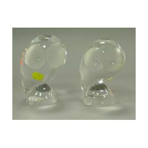Pair of Steuben Colorless Glass Owls.