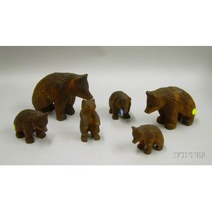 Six Carved Wood Bear Figures