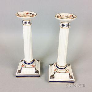 Pair of Wedgwood Ceramic Columnar Candlesticks