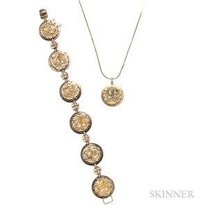 18kt Gold Bracelet and Pendant