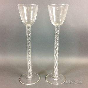 Two Tall Steuben Crystal Wineglasses