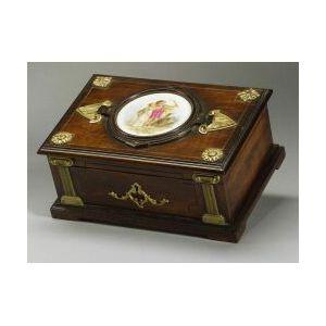 Renaissance Revival Walnut, Porcelain and Ormolu Mounted Box