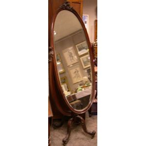 Late Victorian Carved Mahogany Cheval Mirror.