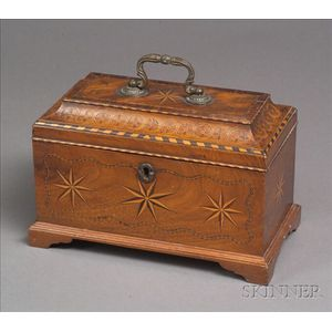 Inlaid Mahogany Veneer Dome-top Tea Caddy