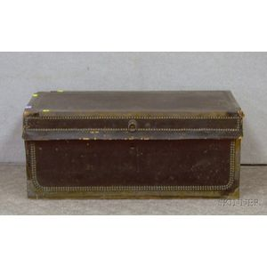 Chinese Export Brass-mounted Black Leather-clad Camphorwood Storage Chest