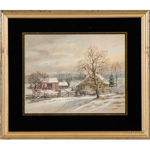 American School, After George H. Durrie      Lot of Two Framed 20th Century American Gouache on Paper/Board Landscapes