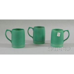 Three Wedgwood Keith Murray Designed Green Glazed Ceramic Mugs