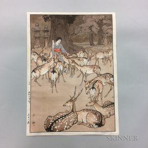 Hiroshi Yoshida (1876-1950), Deer in Kasuga