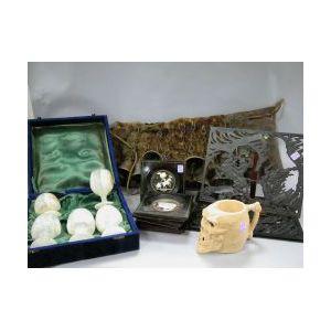 Set of Four Framed Carved Ivory Toreador Plaques