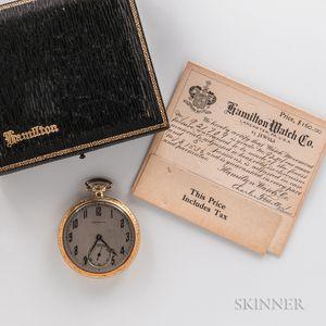 """Hamilton 14kt Gold """"920"""" Open-face Watch"""