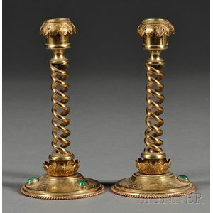Pair of Gothic Revival Brass and Stone-mounted Candlesticks