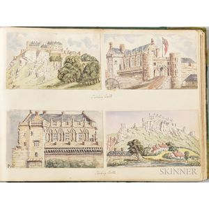Album of Nearly 170 Watercolors of Mostly Castles and Landmarks in England and Wales
