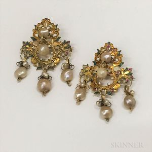 Pair of 14kt Gold, Enamel, and Baroque Pearl Brooches