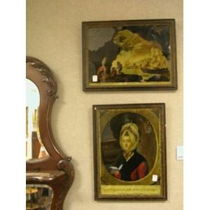 Lot of Three Framed Works Including Eglomise and Foil.