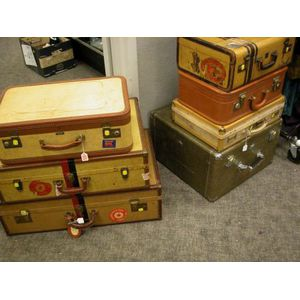 Eight Assorted Mid-20th Century Suitcases