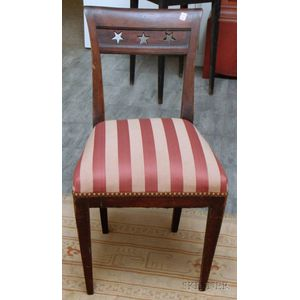 Classical Upholstered Cherry Side Chair with Pierced Star Pattern Crest.