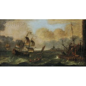 Continental School, 17th/18th Century      Dutch Galleon Coming Ashore