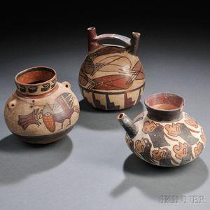 Three Nasca Polychrome Pottery Vessels