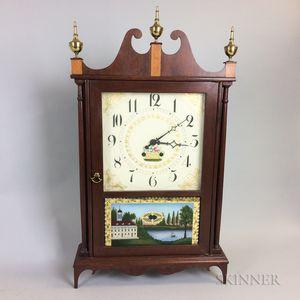 Ossian Bennett Reproduction Reverse-painted Mahogany Pillar and Scroll Clock