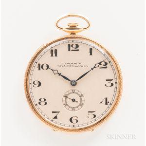 18kt Gold Tavannes Watch Co. Open-face Watch