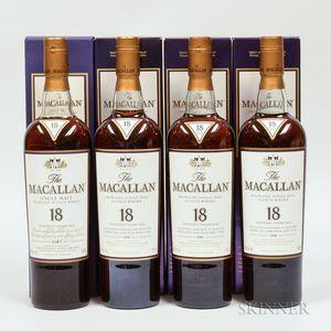 Macallan 18 Years Old Vertical Set, 4 750ml bottles (oc)