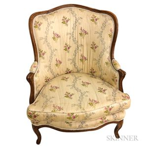 French Provincial Upholstered Walnut Bergere