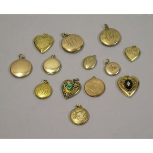 Thirteen Victorian Gold-filled or Plated Lockets.
