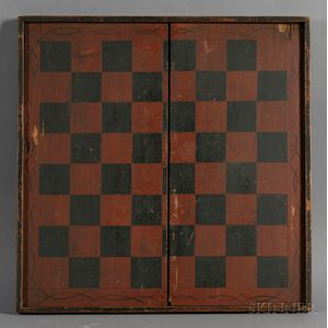 Large Painted Wooden Checkerboard