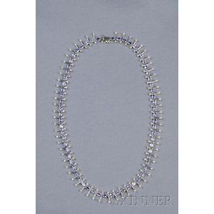 18kt White Gold, Tanzanite, and Diamond Necklace