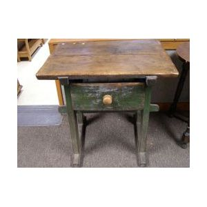 Hungarian Provincial Green Painted Wooden Scrubbed-top Sausage Table with Drawer.