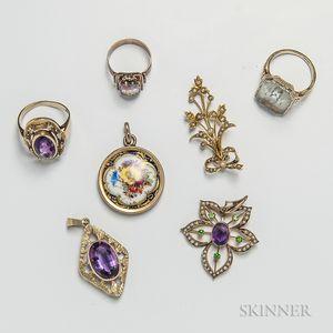Three Gem-set Rings and Four Pendants