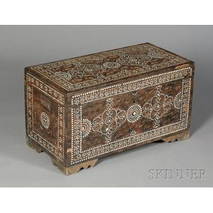 Middle Eastern Mother-of-Pearl Inlaid Hardwood Chest